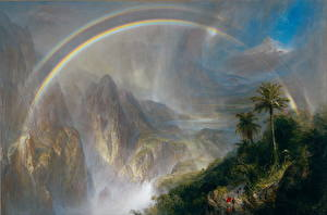 Bureaubladachtergronden Berg Schilderij Regenboog Frederic Edwin Church, Rainy Season in the Tropics