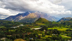 Photo New Zealand Mountain Fields Meadow Trees Clouds Queenstown Nature