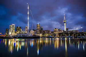 Pictures New Zealand Rivers Houses Pier Night Auckland Cities
