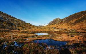 Fotos Norwegen Gebirge Herbst See Gras Sulitjelma Natur