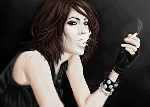 Bilder Gezeichnet Zigaretten Braunhaarige junge Frauen