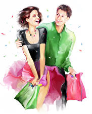 Image Painting Art Smile Two Young man White background Purchase Joyful Girls