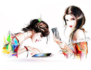 Fotos Gezeichnet 2 Braunhaarige Smartphone Weißer hintergrund Mädchens