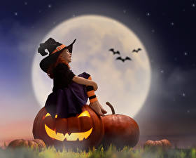 Image Pumpkin Halloween Little girls Moon Night Hat Sit child