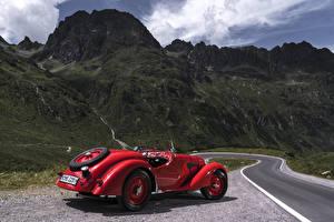 Bilder Retro BMW Rot Metallisch Roadster 1936-40 328 Roadster Autos