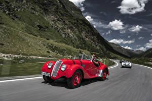 Fotos Antik BMW Rot Metallisch Fahrendes Roadster 1936-40 328 Roadster Autos