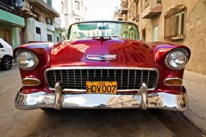 Bilder Retro Chevrolet Vorne Rot Metallisch Auto Scheinwerfer Nomad 1955 V8 Autos