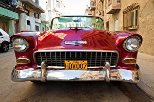 Fonds d'écran Rétro style Chevrolet Devant Rouge Métallique Phare automobile Nomad 1955 V8 voiture