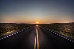 Fotos Straße Sonnenaufgänge und Sonnenuntergänge Asphalt Natur