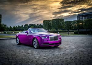 Hintergrundbilder Rolls-Royce Cabrio Luxus Metallisch Violett 2017 Dawn in Fuxia