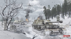 Wallpapers SPG Winter Airplane Attack aircraft War Thunder German Russian Snow Ferdinand,  Il-2 vdeo game 3D_Graphics