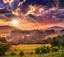 Bilder Landschaftsfotografie Jahreszeiten Herbst Himmel Felder Wald Wolke Regenbogen Natur