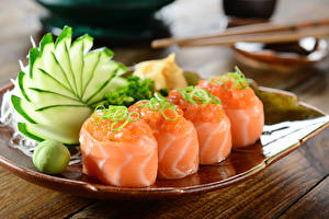 Picture Seafoods Sushi Vegetables Boards Food