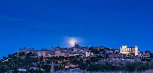 Hintergrundbilder Spanien Toledo Haus Himmel Mond Nacht