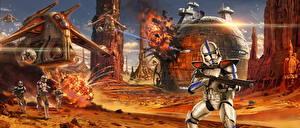 Pictures Star Wars - Movies Warrior Fighting Clone trooper Fanart Movies