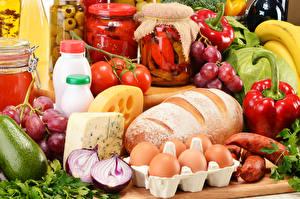 Image Still-life Bread Vegetables Sausage Cheese Egg Jar Food