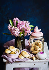 Picture Still-life Hyacinths Baking Birds Jar Food