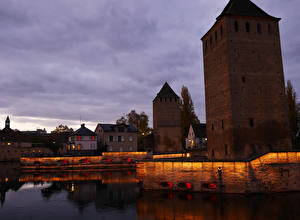 Hintergrundbilder Straßburg Frankreich Haus Brücke Flusse Nacht Ponts couverts