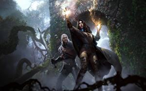 Hintergrundbilder The Witcher 3: Wild Hunt Geralt von Rivia Magie Schwert Zwei Yennefer Mädchens Fantasy