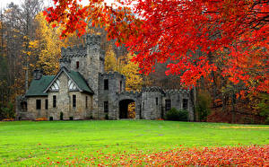 Wallpaper USA Castles Autumn Lawn Branches Squire's Castle Cleveland Cities