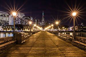 Hintergrundbilder Vereinigte Staaten Gebäude Brücken San Francisco Nacht Straßenlaterne Bank (Möbel)