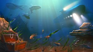 Pictures Underwater world Submarines Fish Treasure chest coffer Fantasy