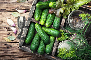 Hintergrundbilder Gemüse Gurke Knoblauch Dill Bretter Lebensmittel