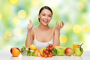 Fotos Gemüse Obst Äpfel Tomaten Zitrusfrüchte Finger Lächeln Mädchens