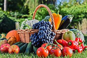 Wallpapers Vegetables Fruit Grapes Tomatoes Apples Bell pepper Wicker basket Food
