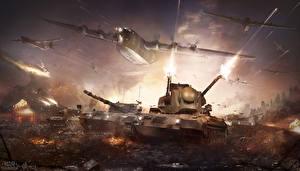 Papel de Parede Desktop War Thunder Aviãos Tanque Tiro videojogo