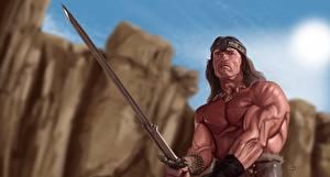 Bureaubladachtergronden Krijger Getekende Arnold Schwarzenegger Zwaard Conan the Barbarian Fantasy
