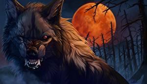 Hintergrundbilder Werwolf Ungeheuer Mond Grinsen