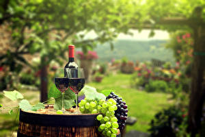 Photo Wine Grapes Barrel Stemware Two Bottles