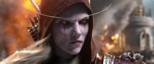 Fondos de escritorio World of WarCraft De cerca Elfos Sylvanas Windrunner Cara Contacto visual Capucha Battle for Azeroth videojuego Fantasía Chicas