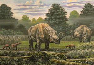 Photo Ancient animals Dinosaurs Painting Art Embolotherium, Hyrachyus