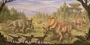 Pictures Ancient animals Dinosaurs Painting Art Utahceratops, Komoceratops, Dromaesaurus