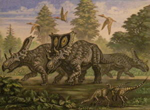 Pictures Ancient animals Dinosaurs Painting Art Chasmosaurus, young Ornithomimus