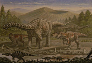 Pictures Ancient animals Dinosaurs Painting Art Argentinosaurus, Giganotosaurus, Irritator Animals