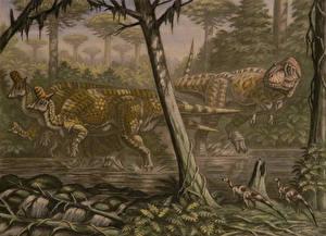 Pictures Ancient animals Dinosaurs Painting Art Lambeosaurus, Daspletosaurus, Orodromeus