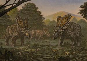 Wallpapers Ancient animals Dinosaurs Painting Art Mojoceratops, Vagaceratops, Chasmosaurus