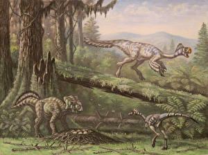 Picture Ancient animals Dinosaurs Painting Art Conchoraptor, Bagaceratops, Mononykus