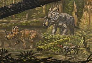 Images Ancient animals Dinosaurs Painting Art Coronosaurus, Albertaceratop