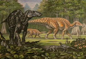 Pictures Ancient animals Dinosaurs Painting Art Edmontosaurus regalis, E. annectens Animals