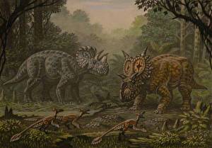 Pictures Ancient animals Dinosaurs Painting Art Wendiceratops, Xenoceratops, Saurornitholesthes