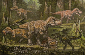 Pictures Ancient animals Dinosaurs Painting Art Tyrannosauroidea campanian tier