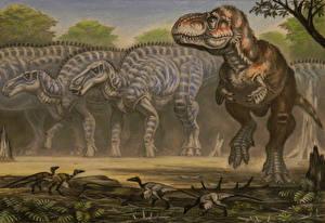 Wallpaper Ancient animals Dinosaurs Painting Art Zhuchengtyrannus, Shantungosaurus Animals