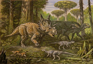 Picture Ancient animals Dinosaurs Painting Art Xenoceratops