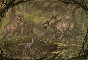 Wallpaper Ancient animals Dinosaurs Painting Art Pachyrhinosaurus, Achelousaurus, Dromiceiomimus animal