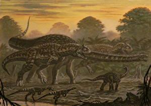 Pictures Ancient animals Dinosaurs Painting Art Majungasaurus, Masiakasaurus, Rapetosaurus