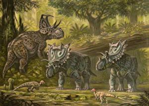 Wallpapers Ancient animals Dinosaurs Painting Art Machairoceratops,Spiclypeus,Texacephale